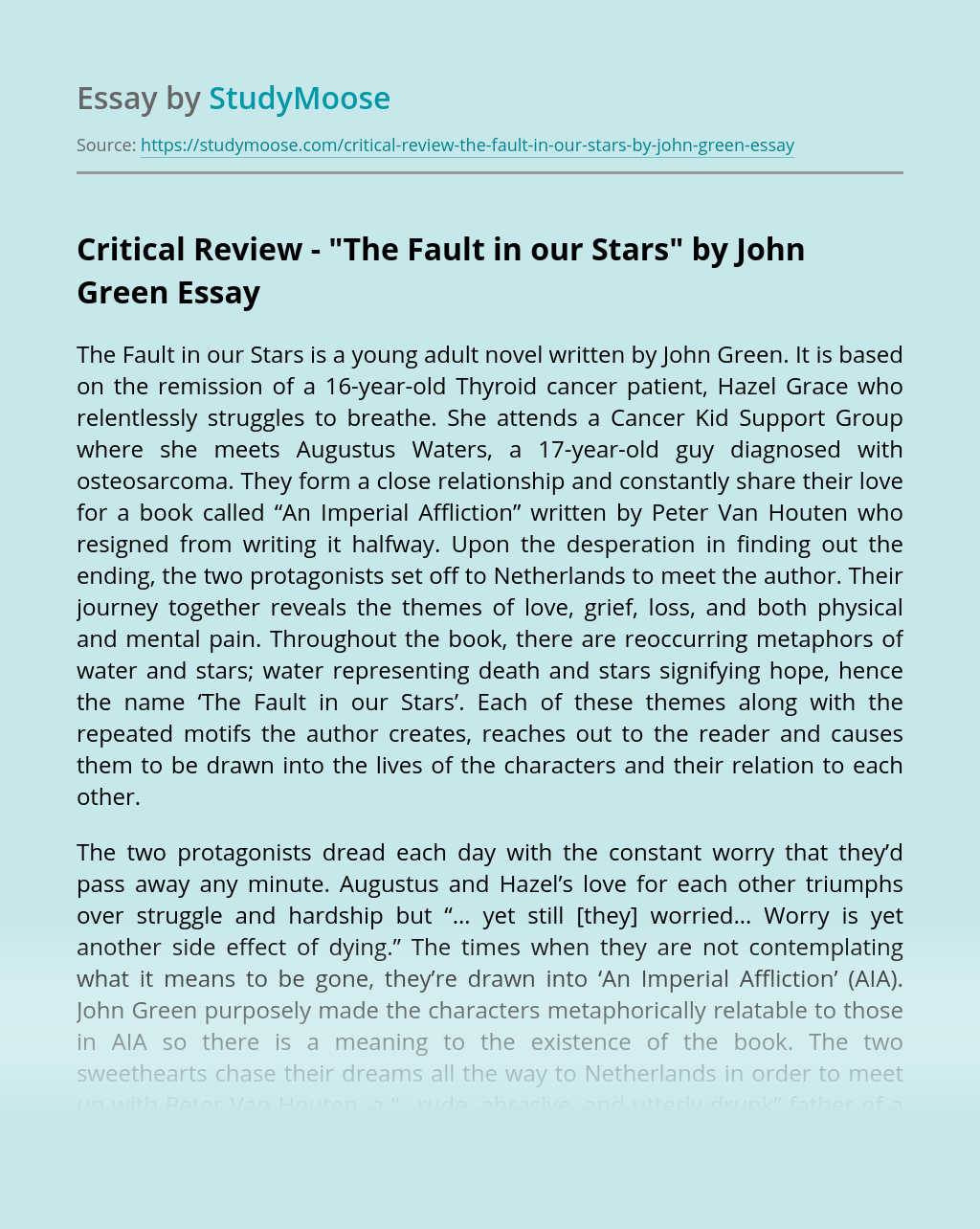 "Critical Review – ""The Fault in our Stars"" by John Green"