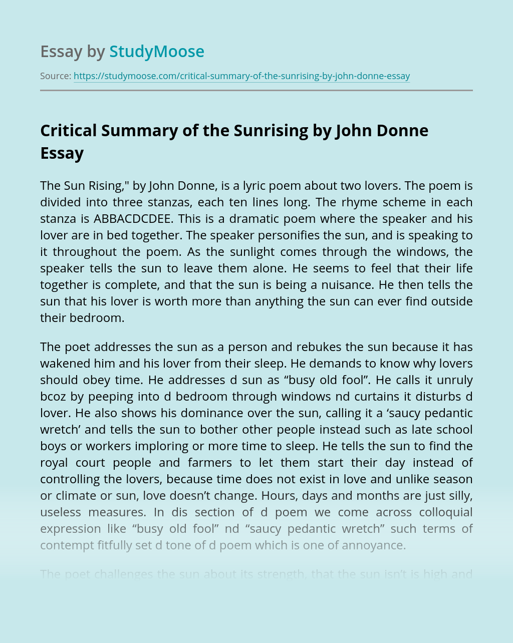 Critical Summary of the Sunrising by John Donne