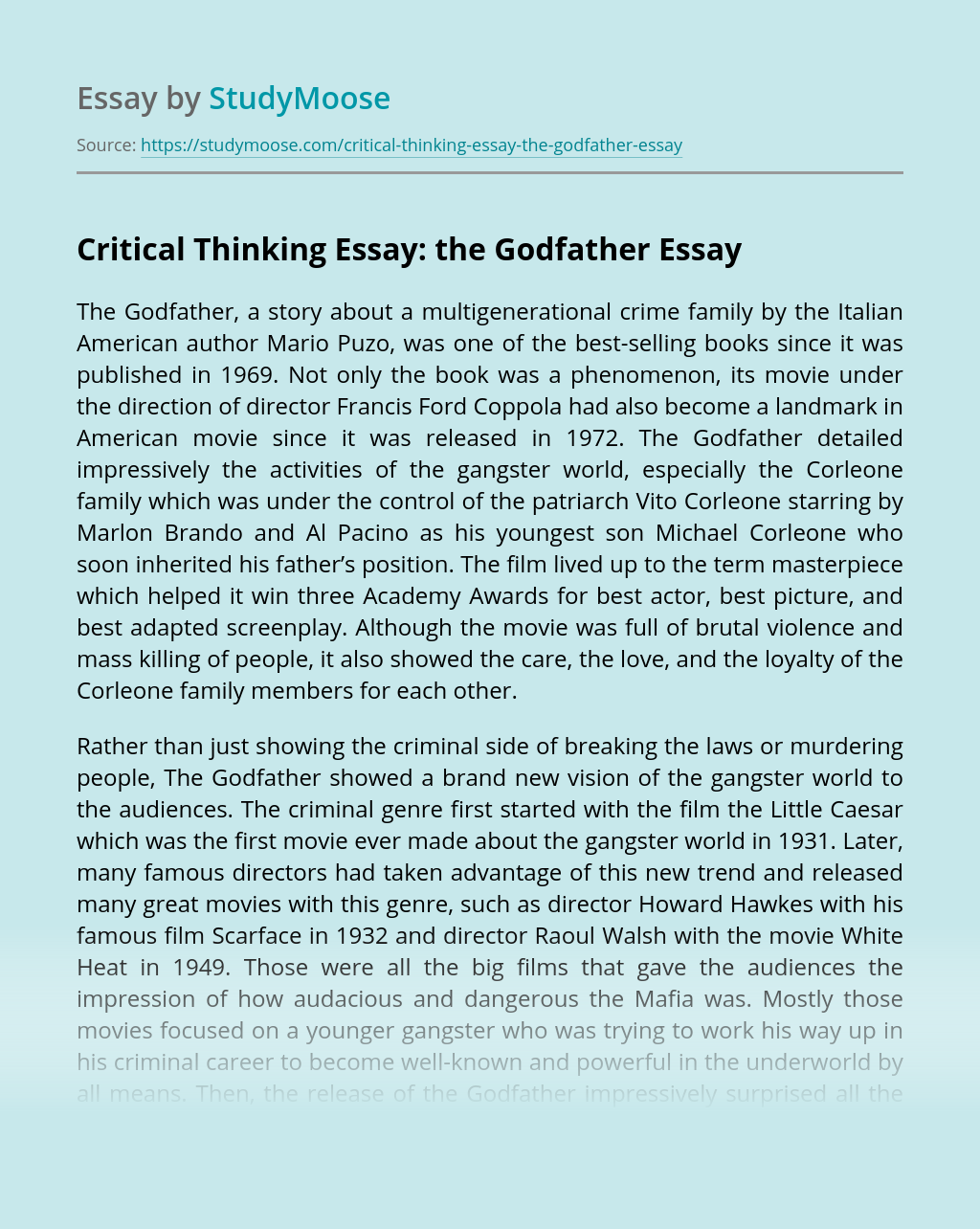 Critical Thinking Essay: the Godfather
