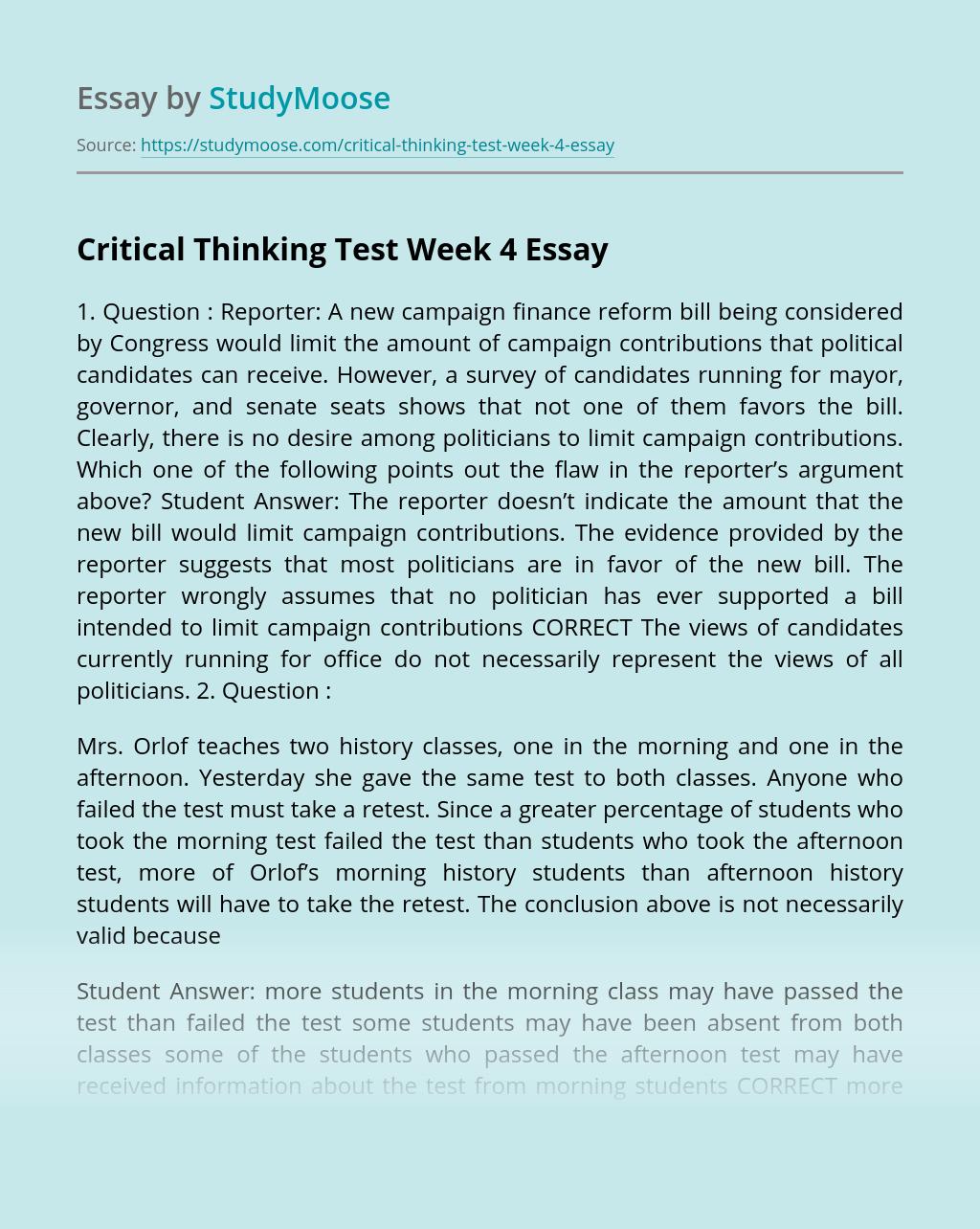 Critical Thinking Test Week 4