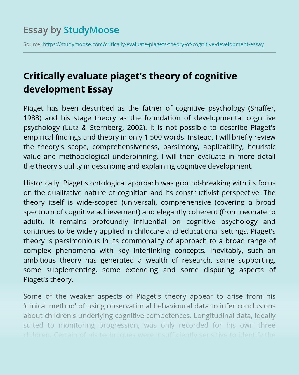 Critically evaluate piaget's theory of cognitive development