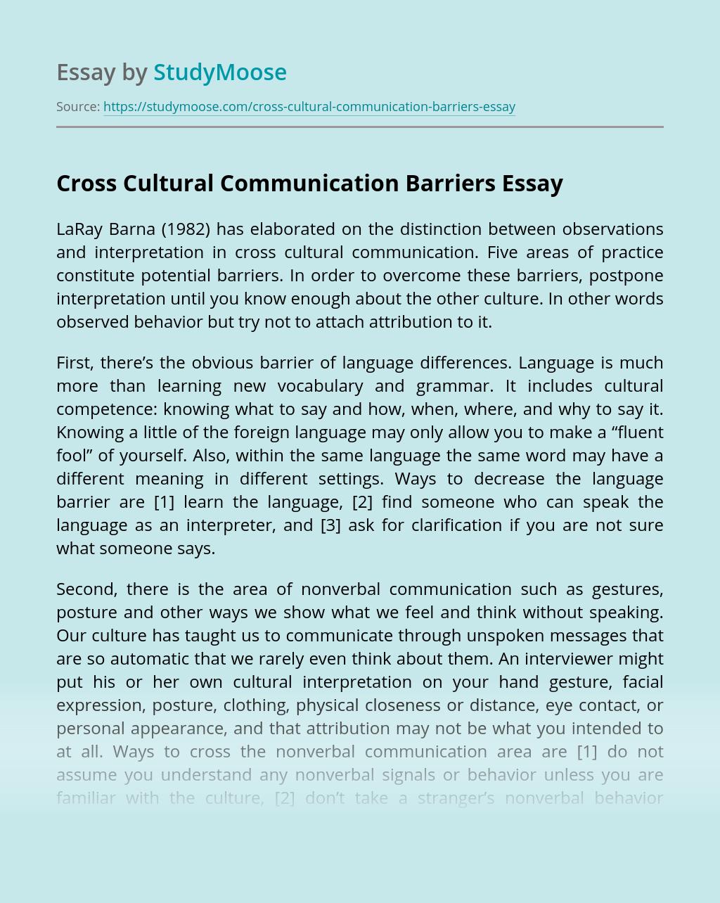Cross Cultural Communication Barriers