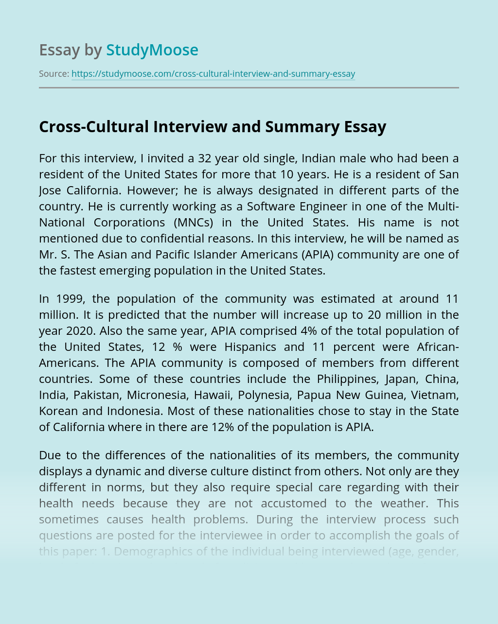 Cross-Cultural Interview and Summary