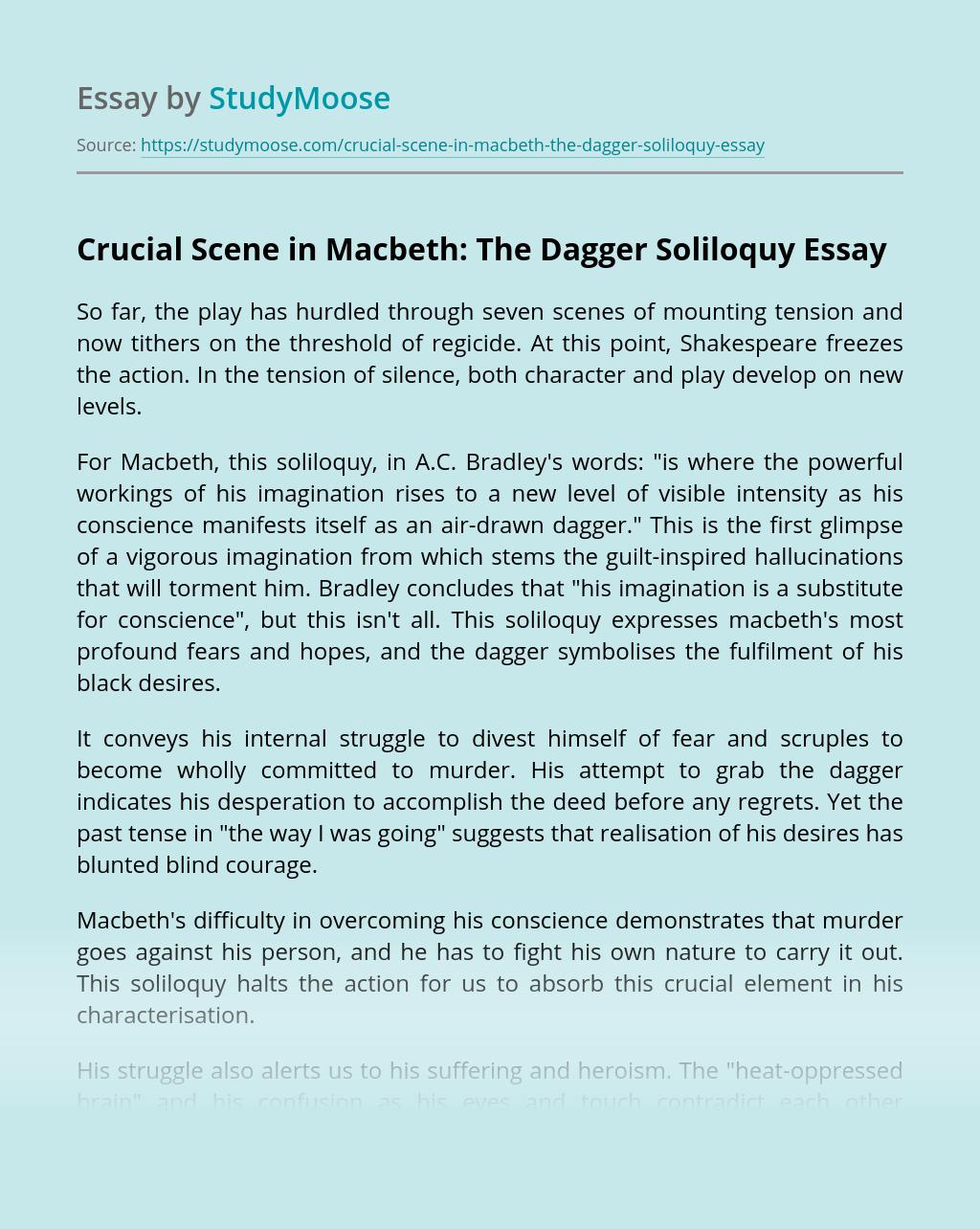 Crucial Scene in Macbeth: The Dagger Soliloquy