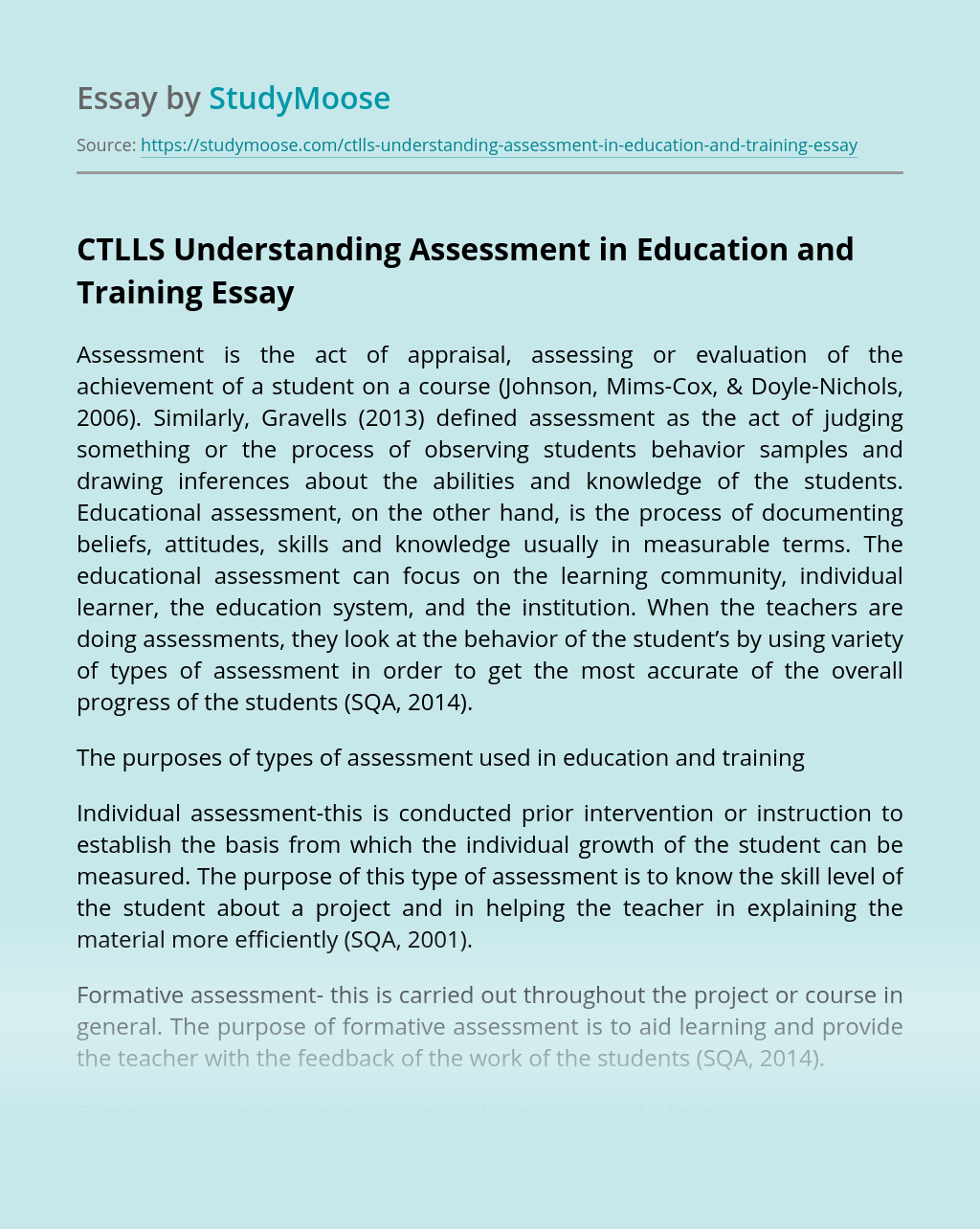 CTLLS Understanding Assessment in Education and Training