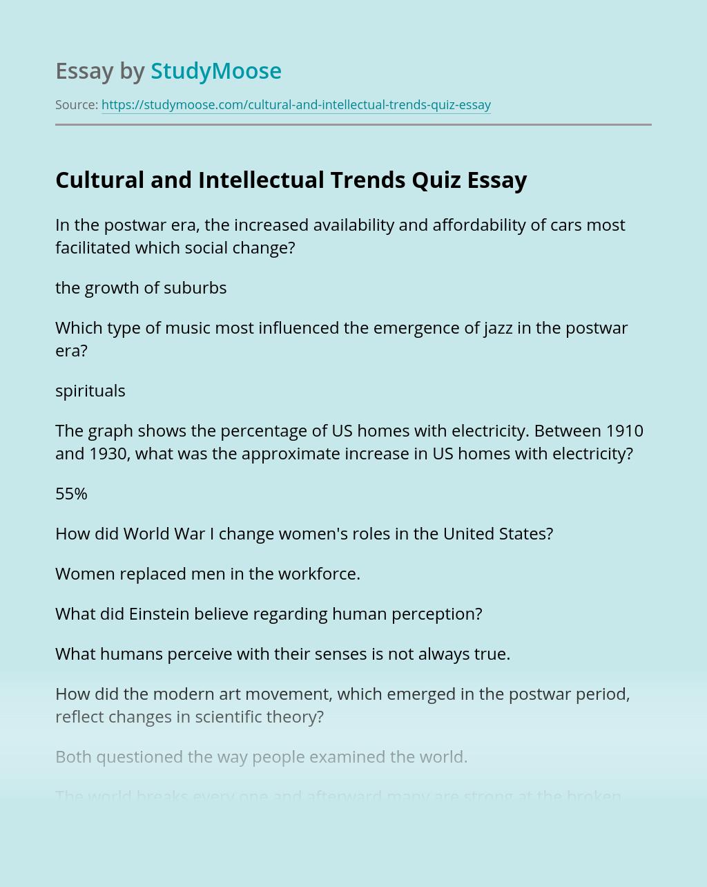 Cultural and Intellectual Trends Quiz