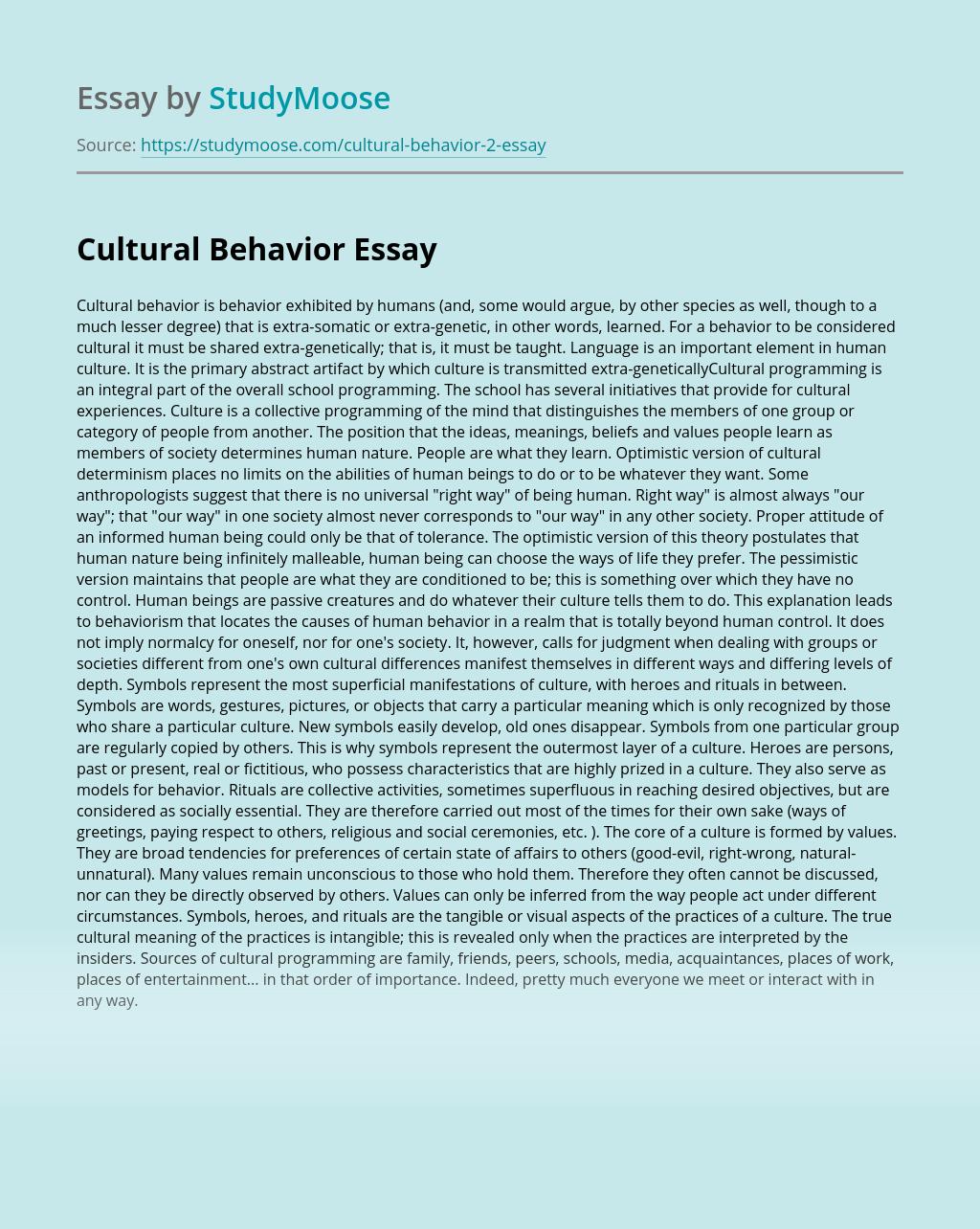 Cultural Behavior