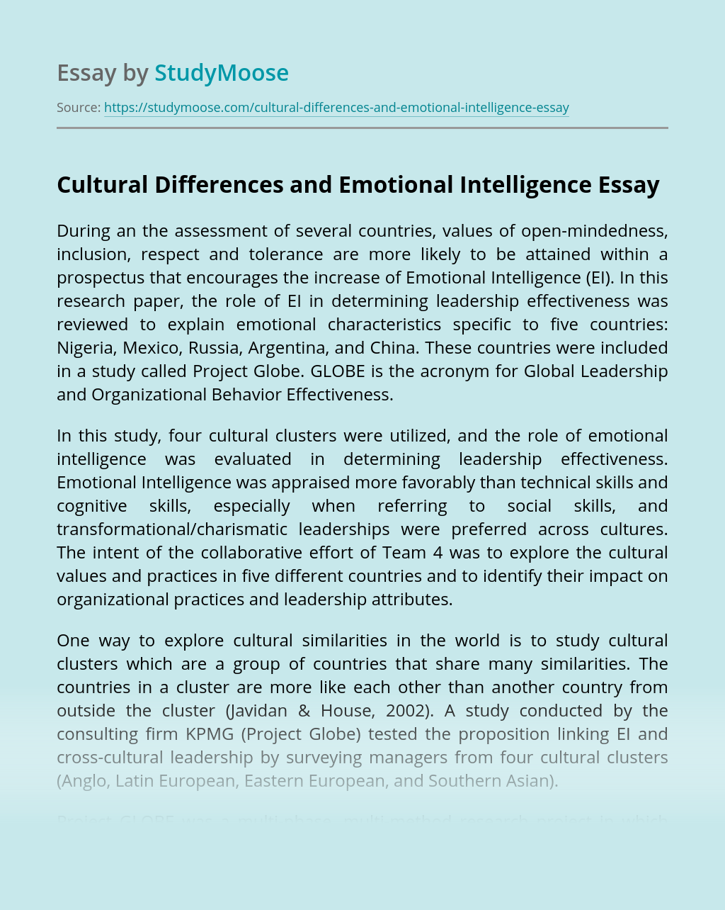 Cultural Differences and Emotional Intelligence
