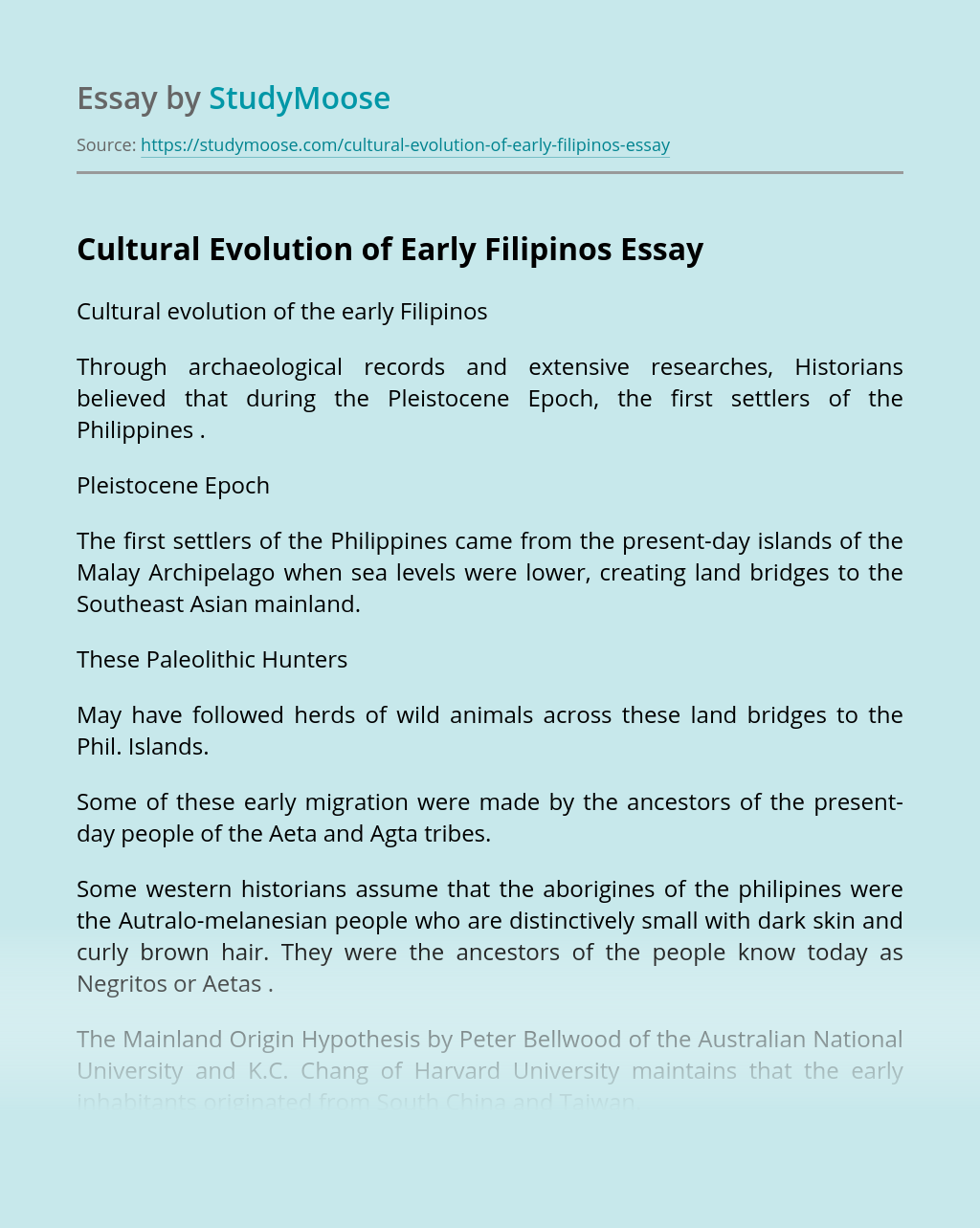 Cultural Evolution of Early Filipinos