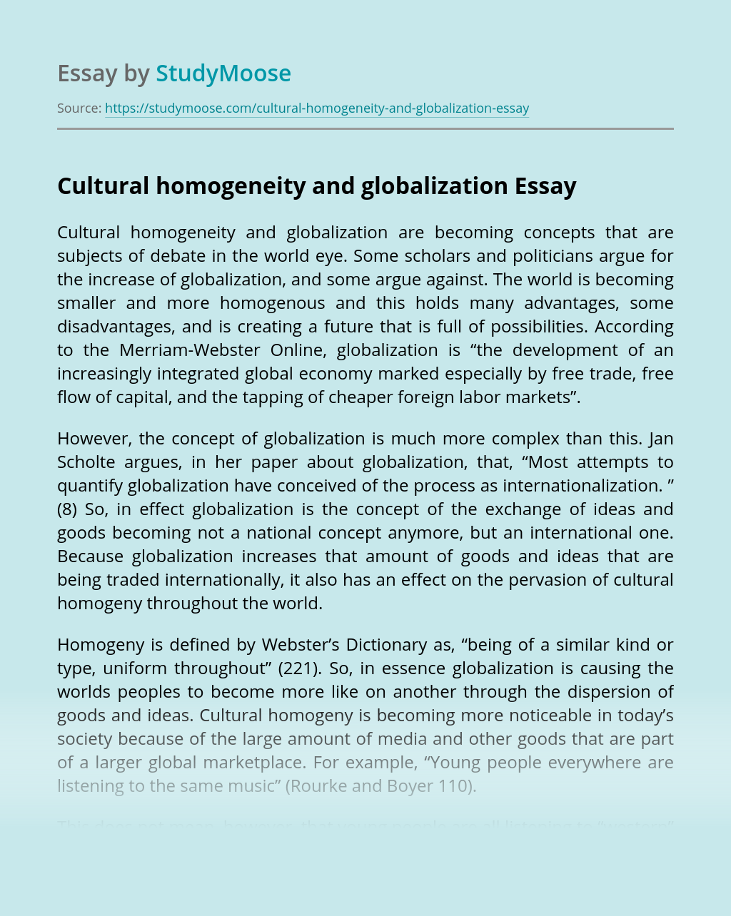 Cultural homogeneity and globalization