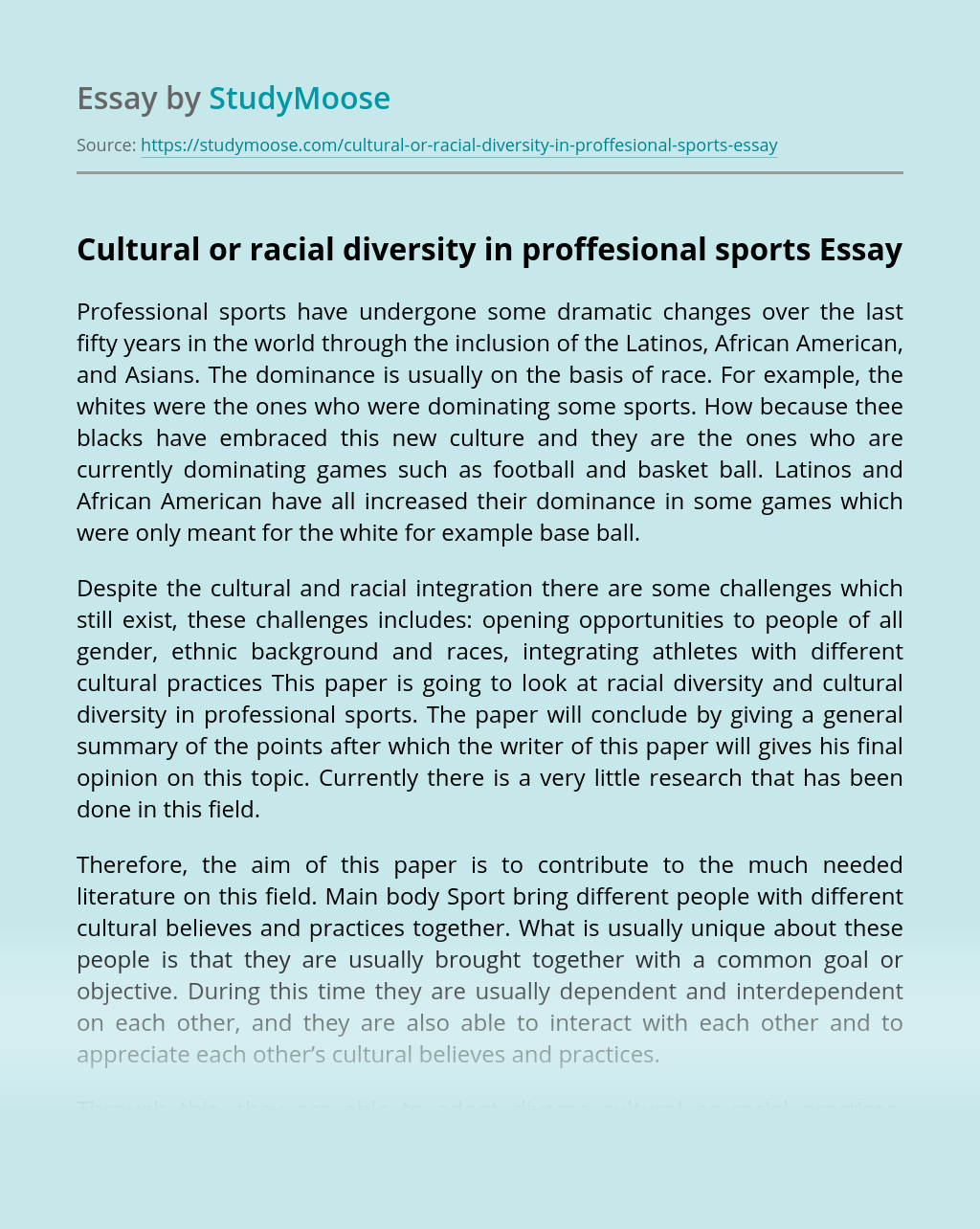 Cultural or racial diversity in proffesional sports