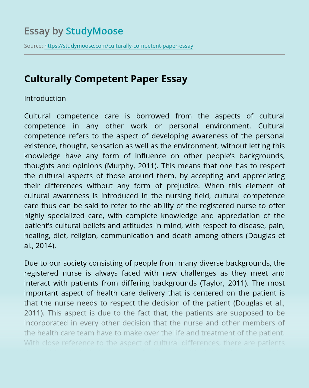 Culturally Competent Paper