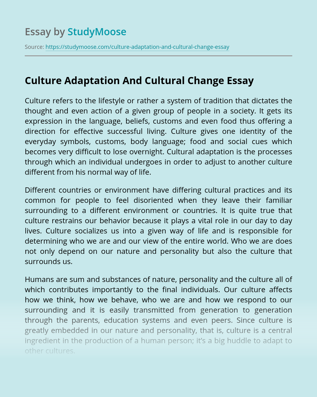 Culture Adaptation And Cultural Change