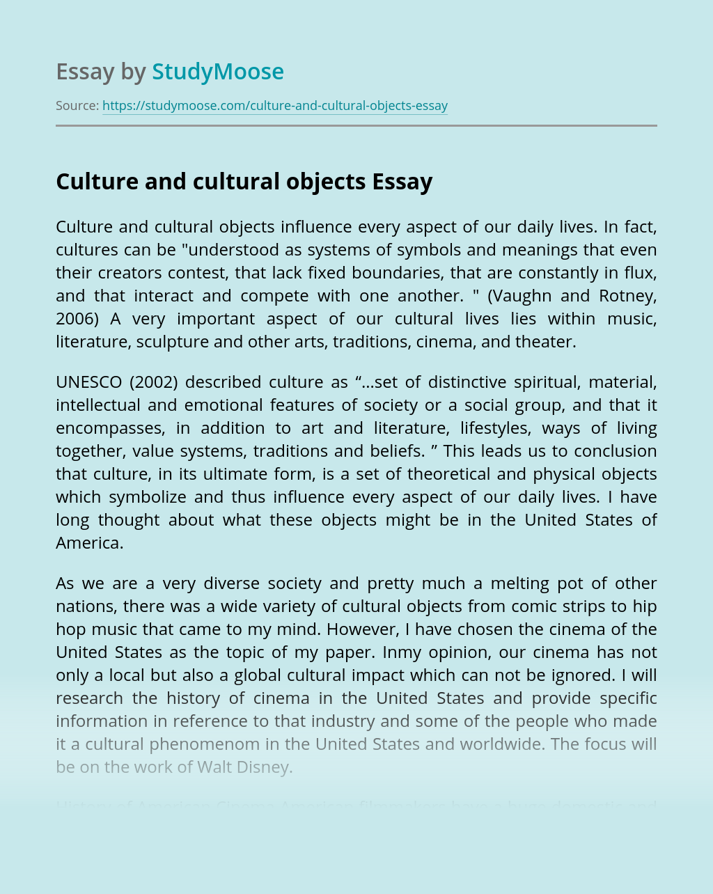 Culture and cultural objects