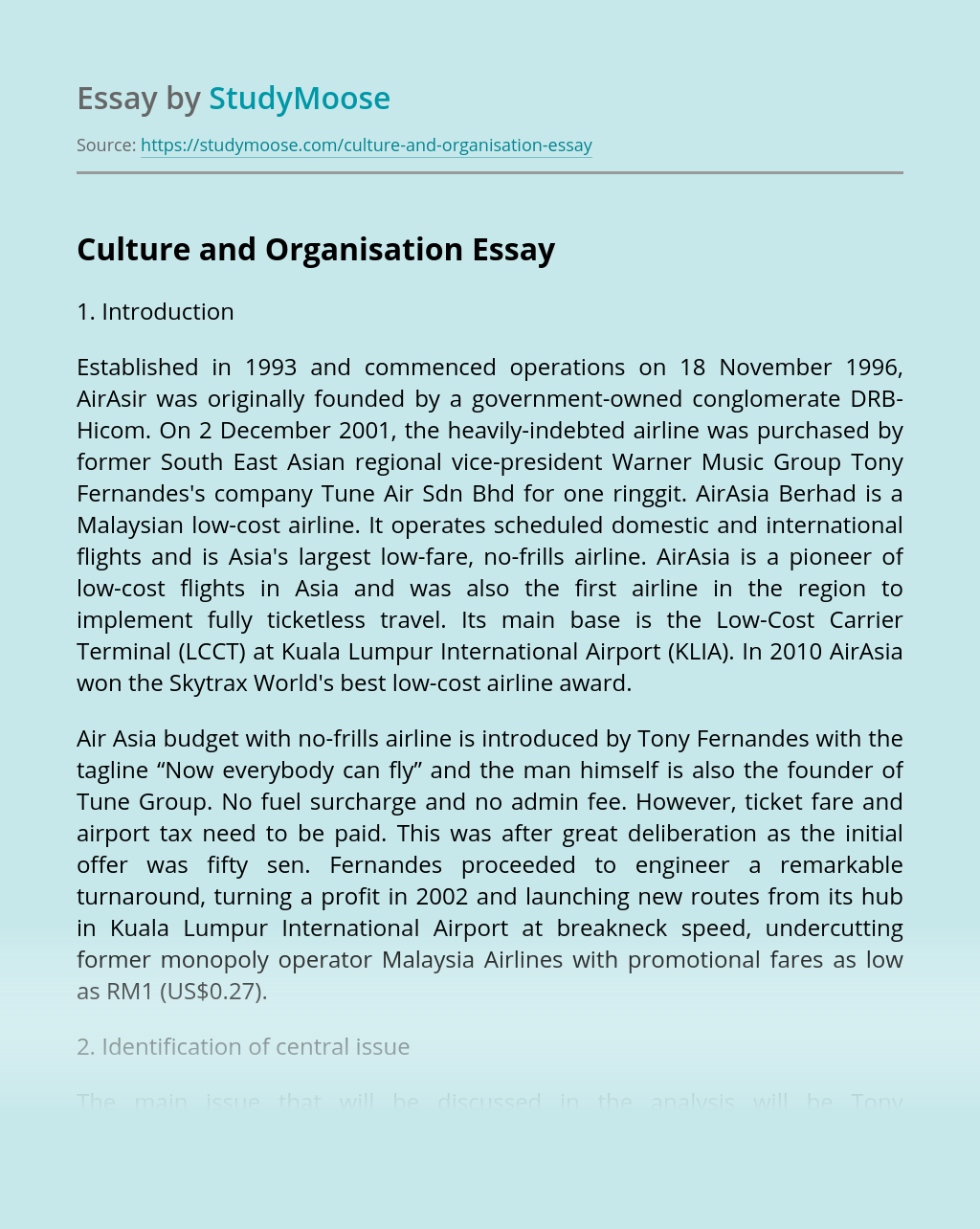 Culture and Organisation