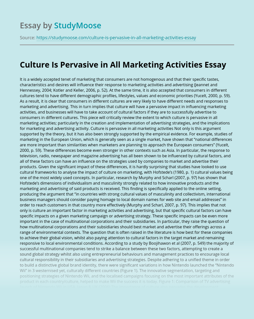Culture Is Pervasive in All Marketing Activities