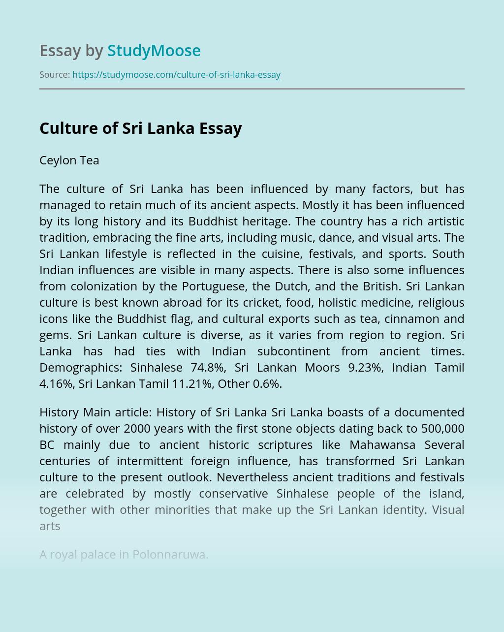 Culture Of Sri Lanka Free Essay Example