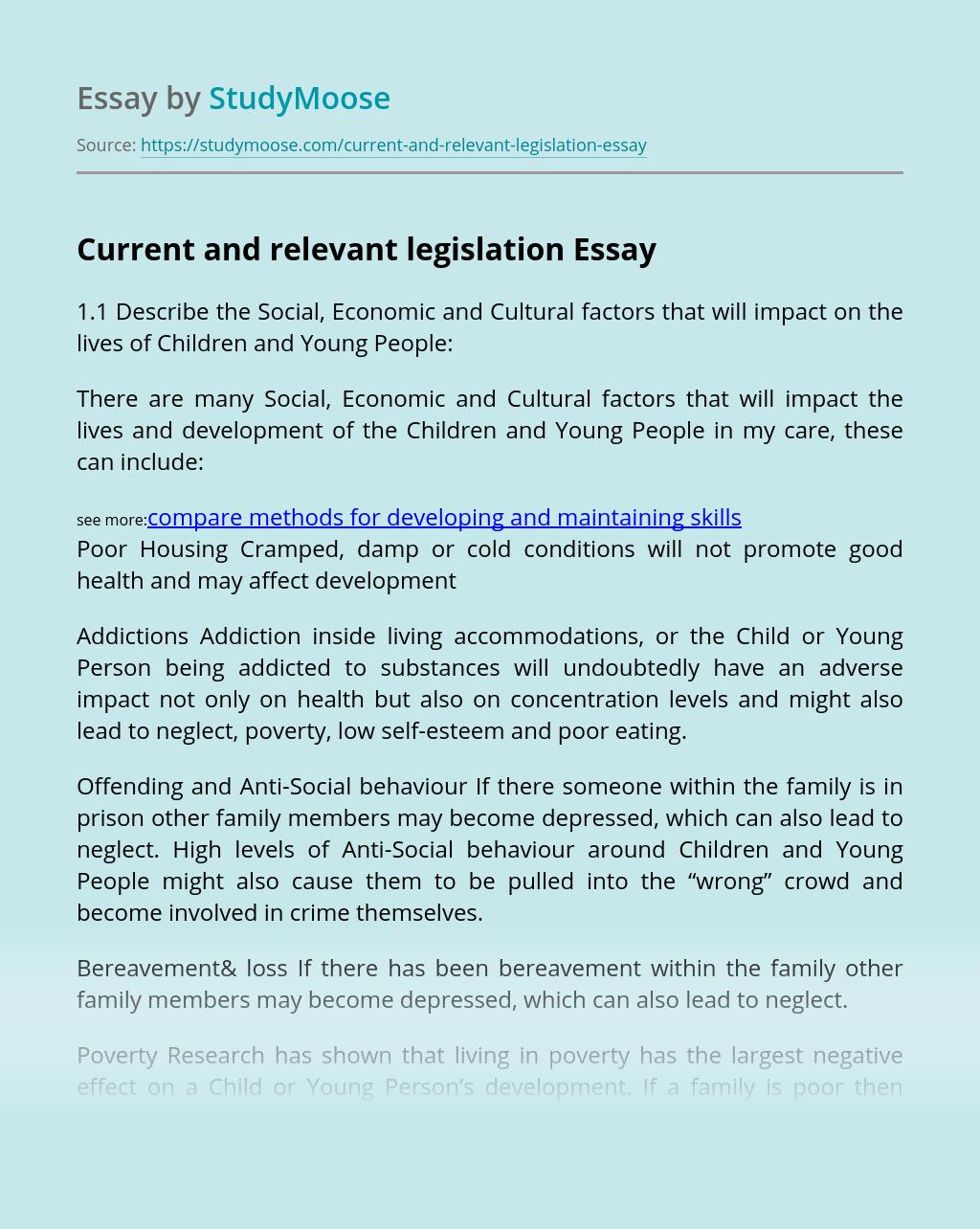 Current and relevant legislation