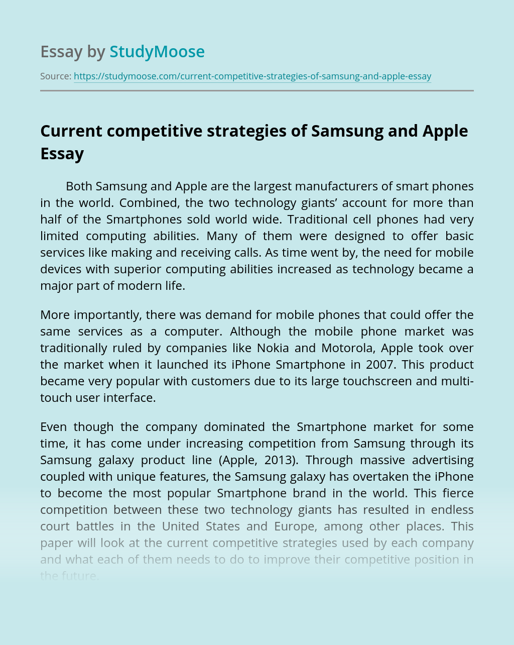 Current competitive strategies of Samsung and Apple