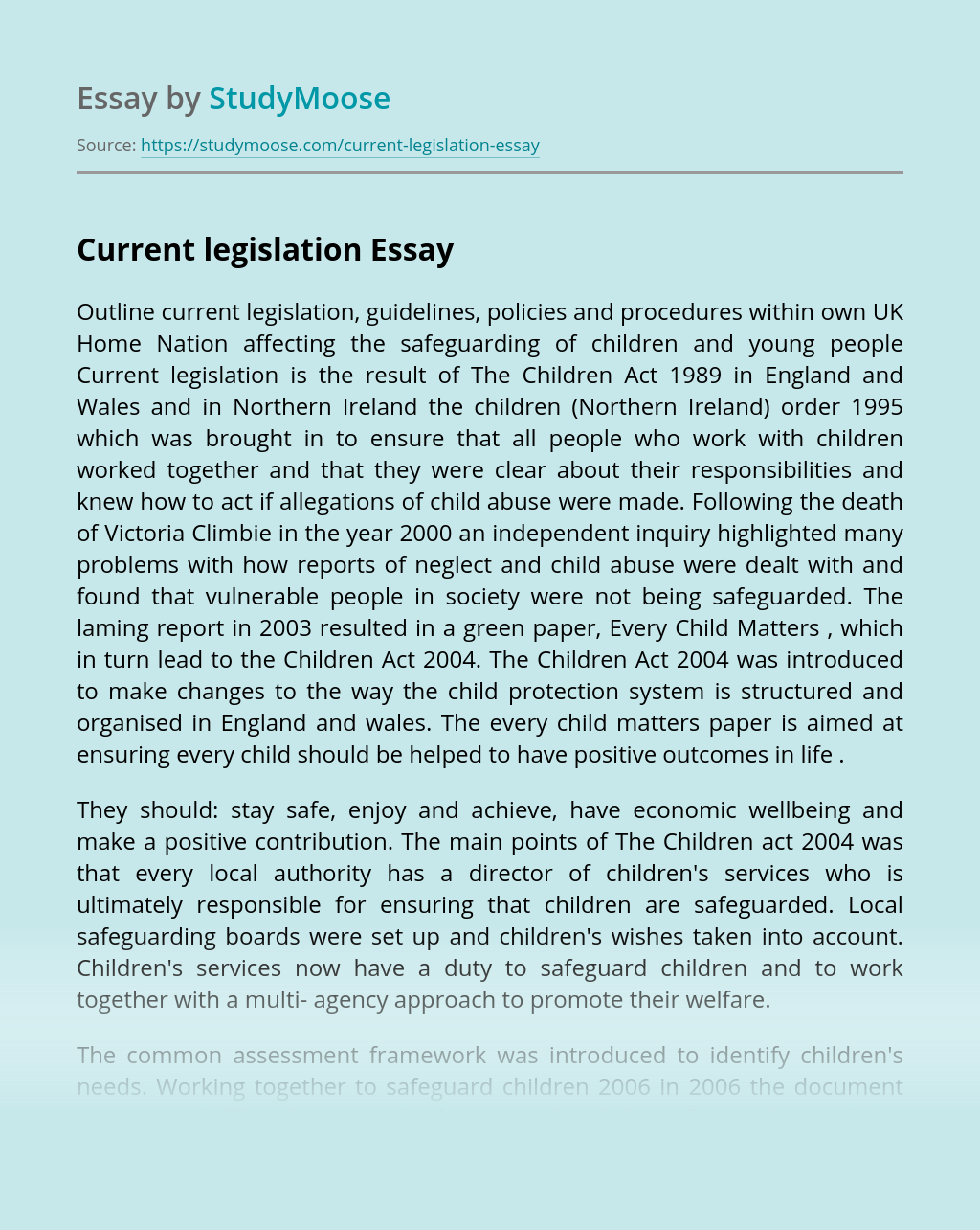 Current Legislation