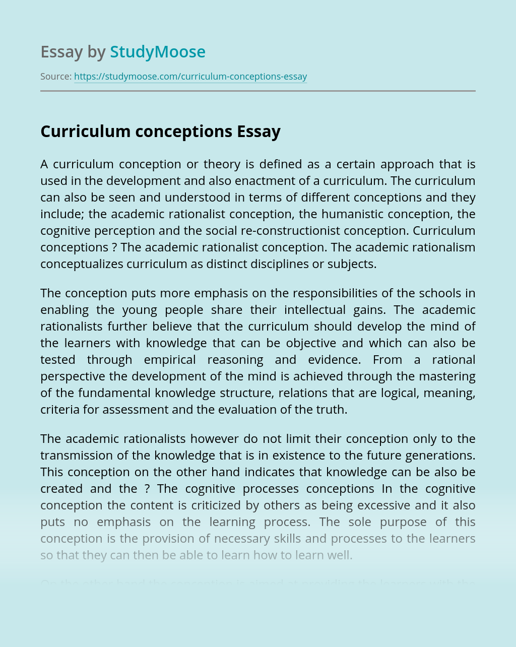 Curriculum conceptions
