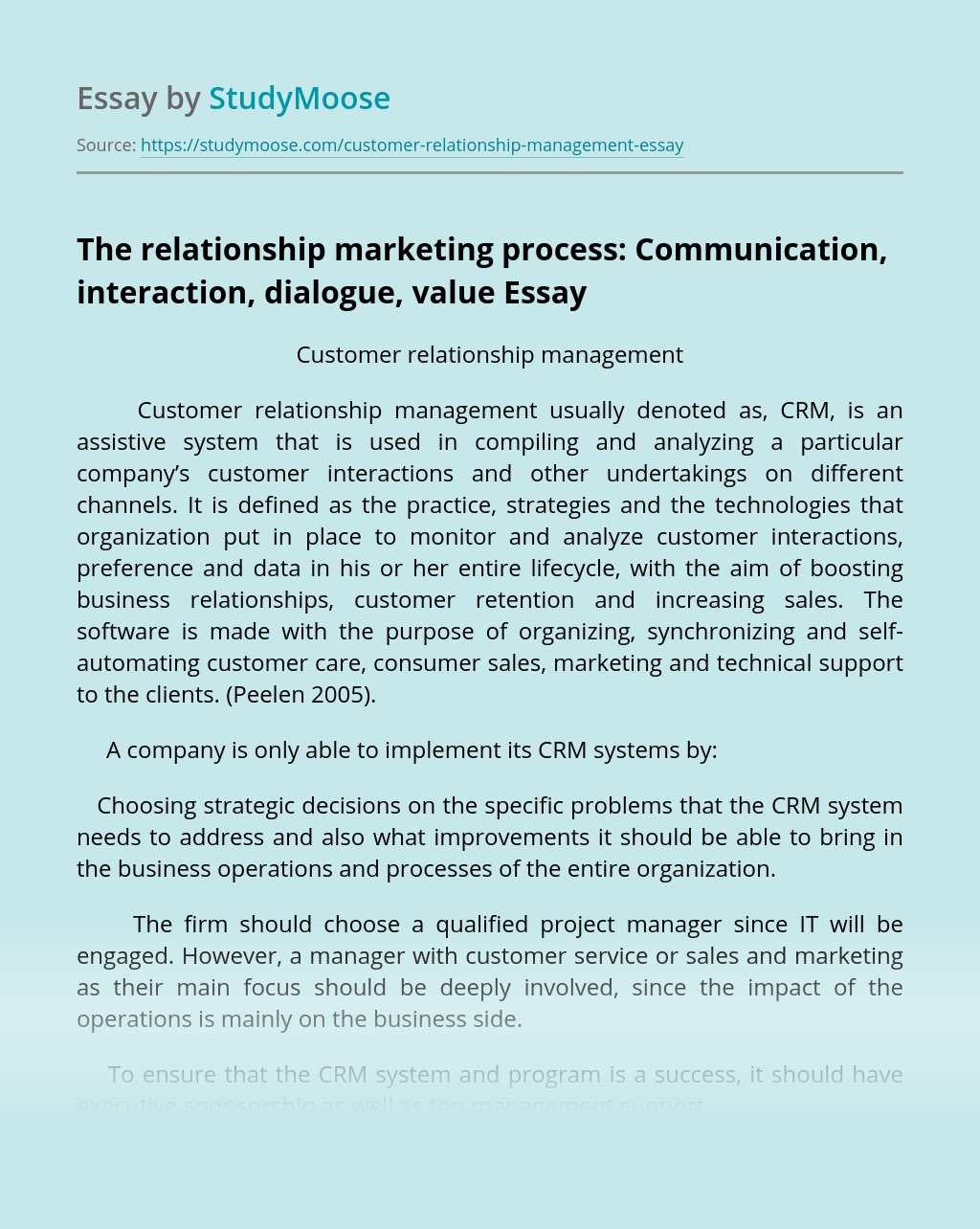 The relationship marketing process: Communication, interaction, dialogue, value