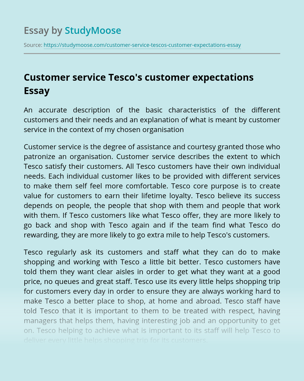 Customer service Tesco's customer expectations
