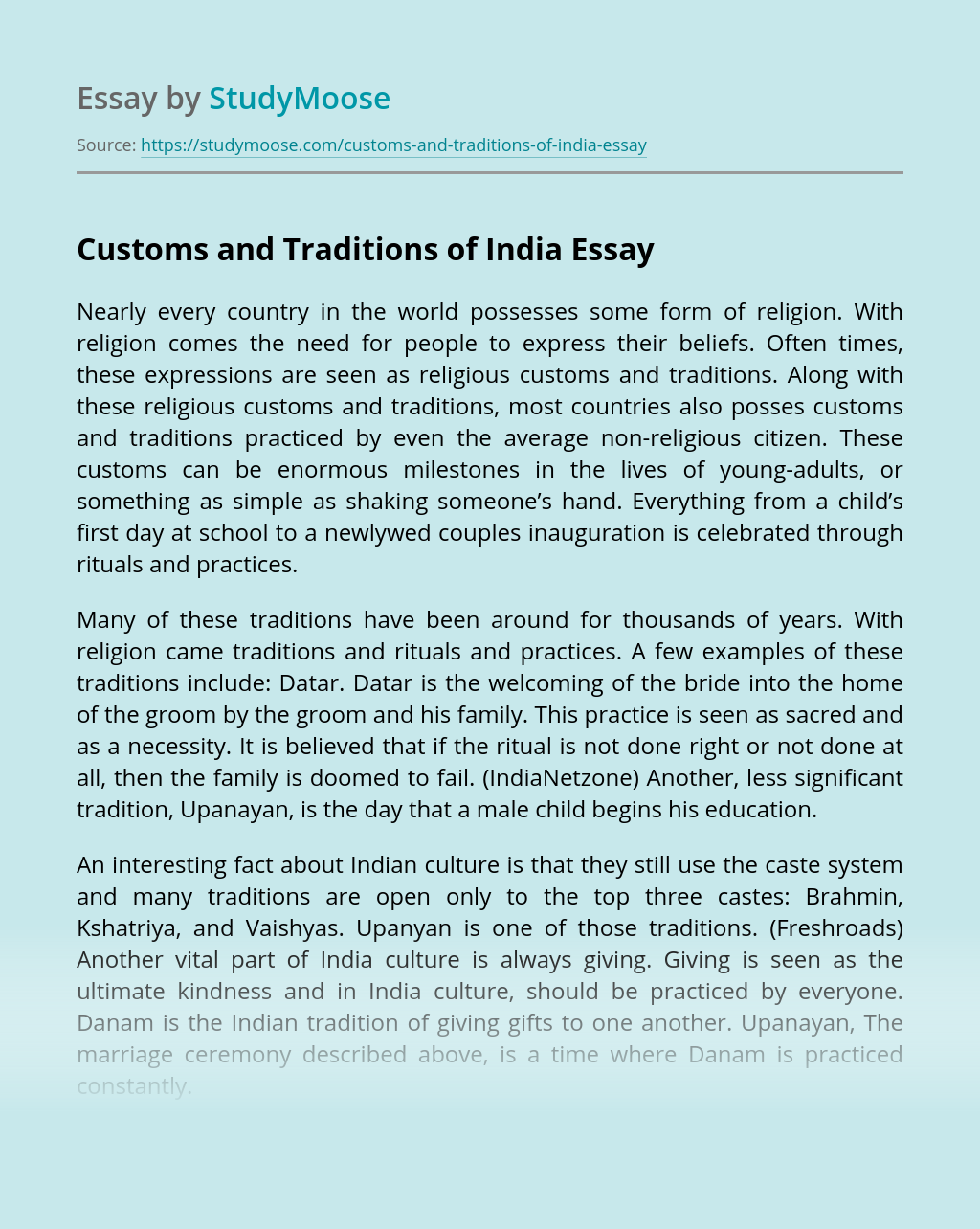 Customs and Traditions of India