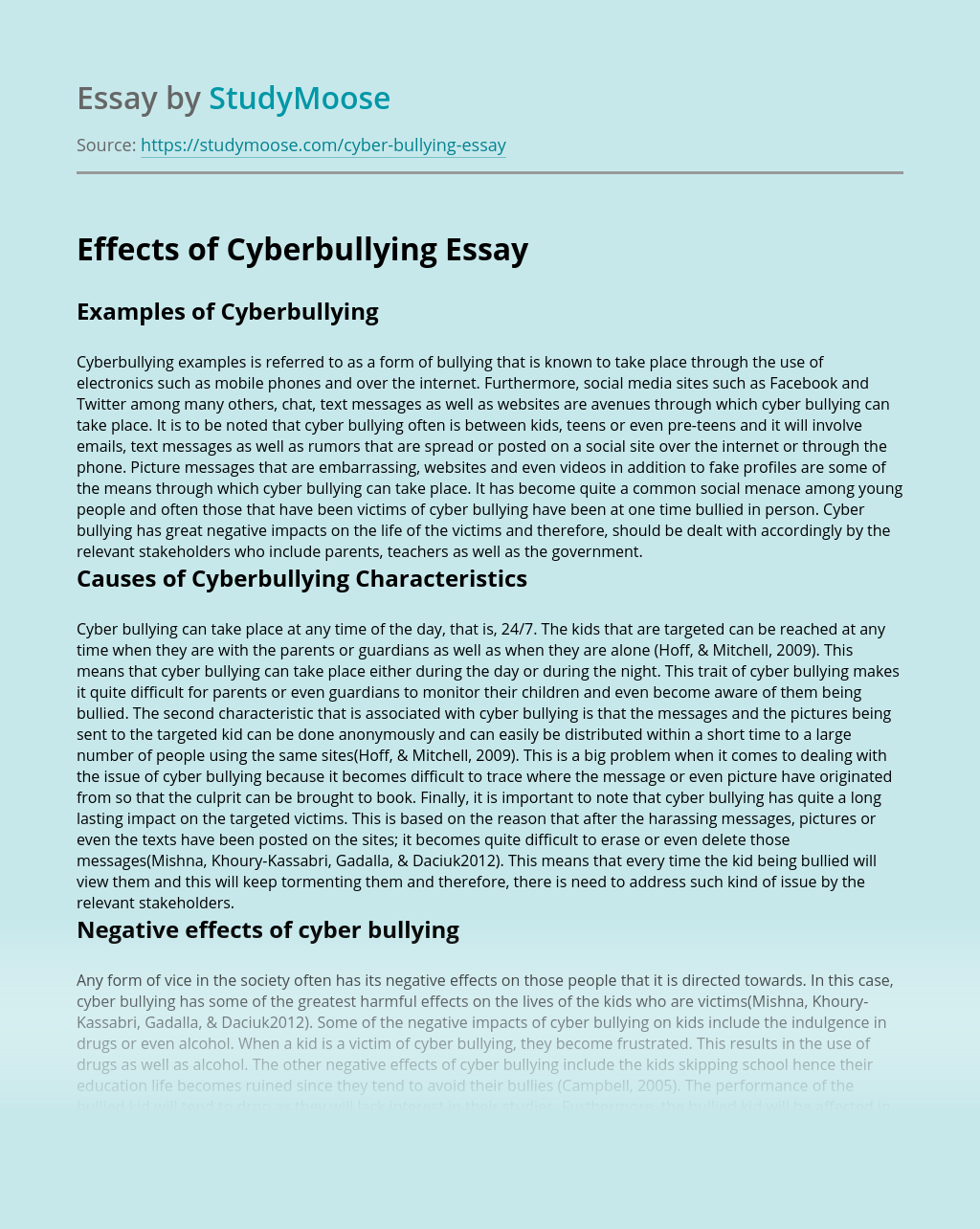 Effects of Cyberbullying
