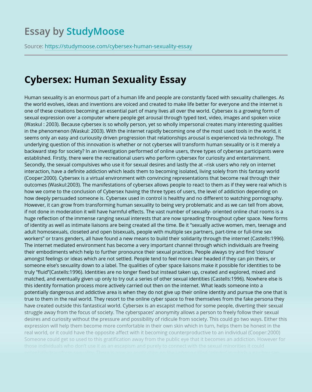 Cybersex: Human Sexuality