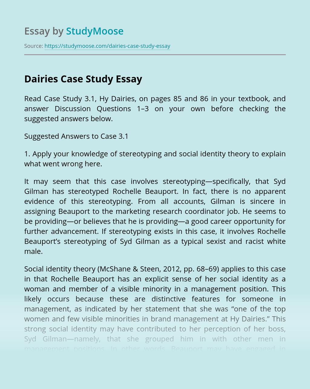 Dairies Case Study