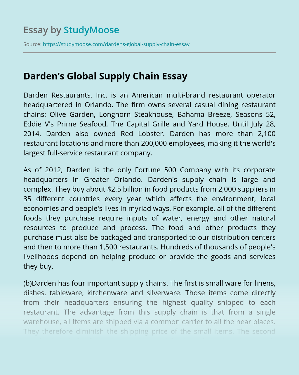 Darden's Global Supply Chain