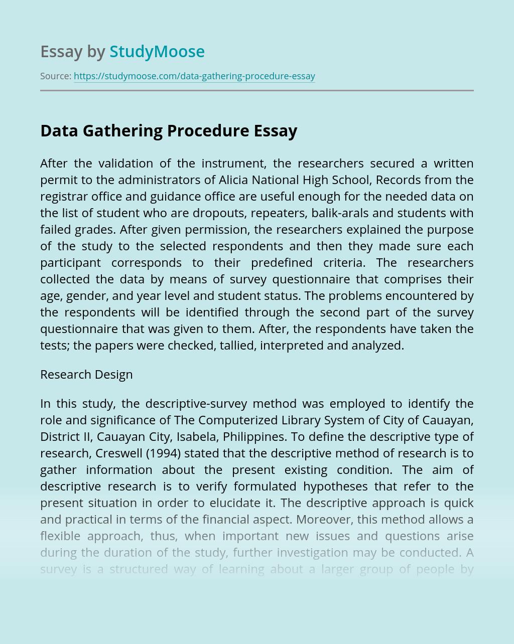 Data Gathering Procedure