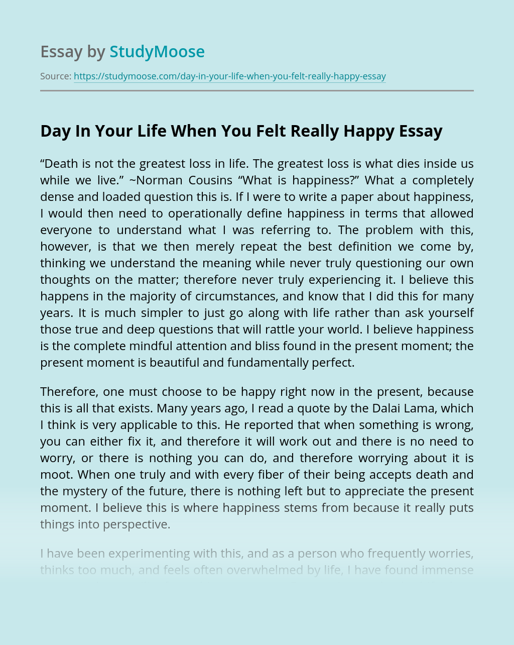 Day In Your Life When You Felt Really Happy