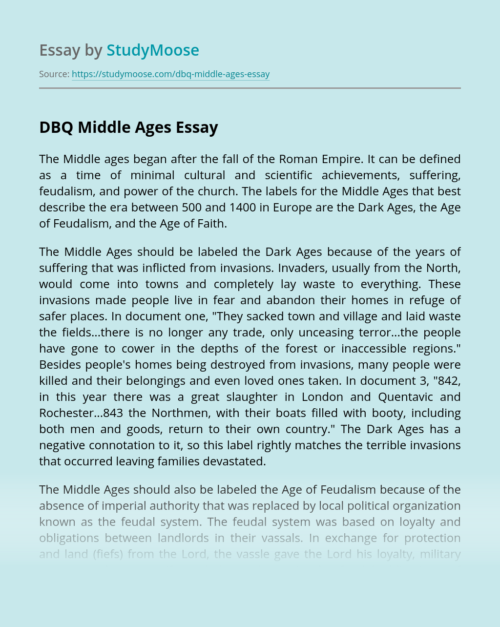 DBQ Middle Ages