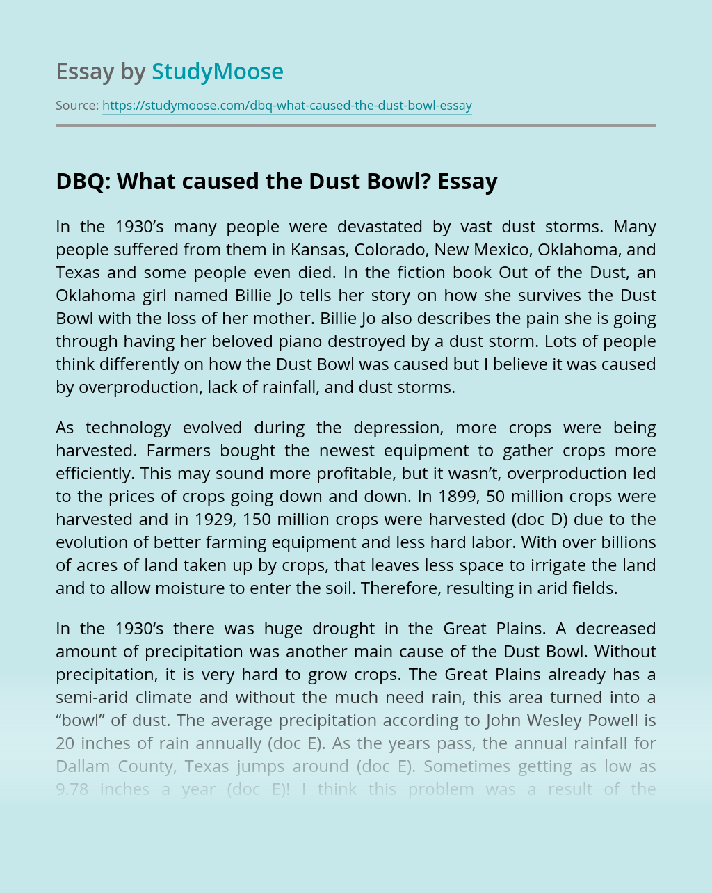 DBQ: What caused the Dust Bowl?
