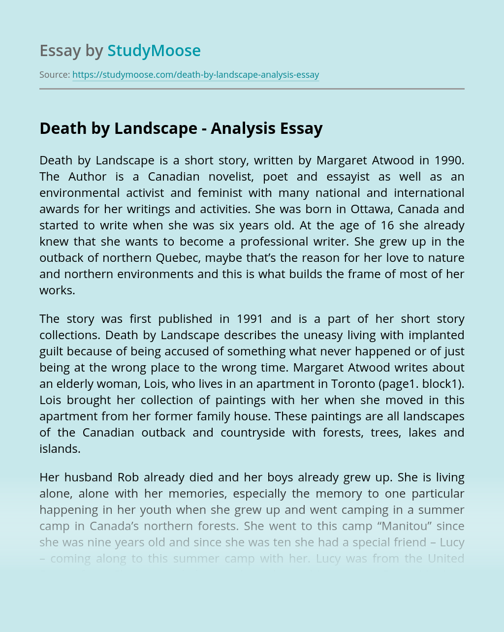 Death by Landscape - Analysis