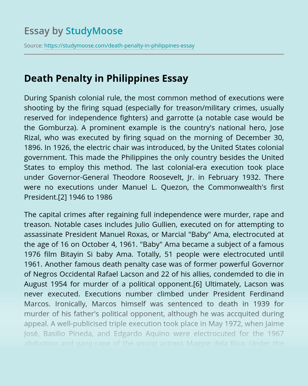 Death Penalty in Philippines