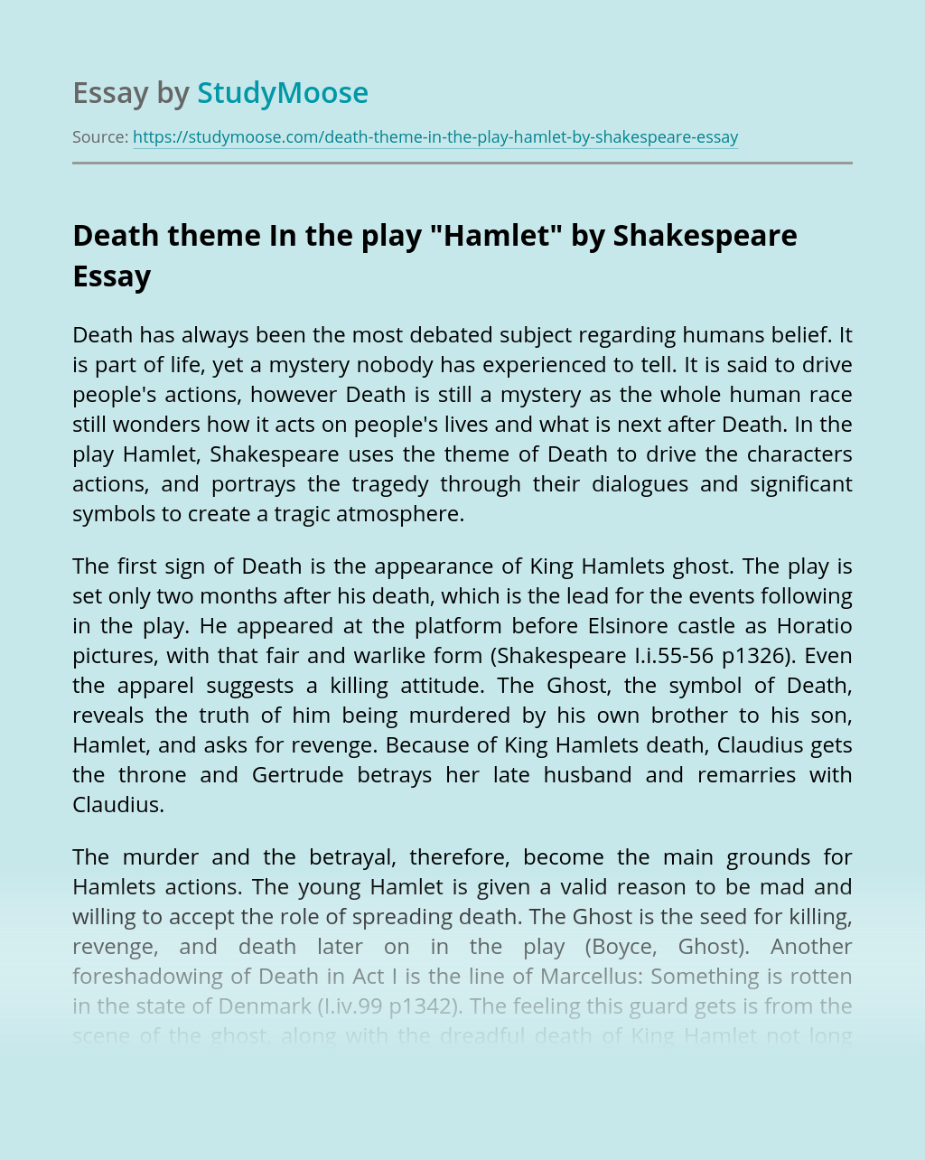 "Death theme In the play ""Hamlet"" by Shakespeare"