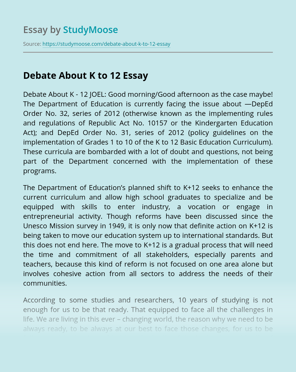 Debate About K to 12