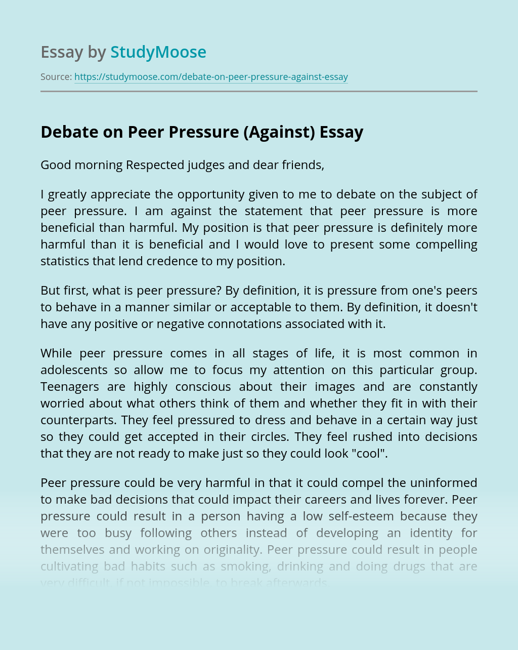 Debate on Peer Pressure (Against)