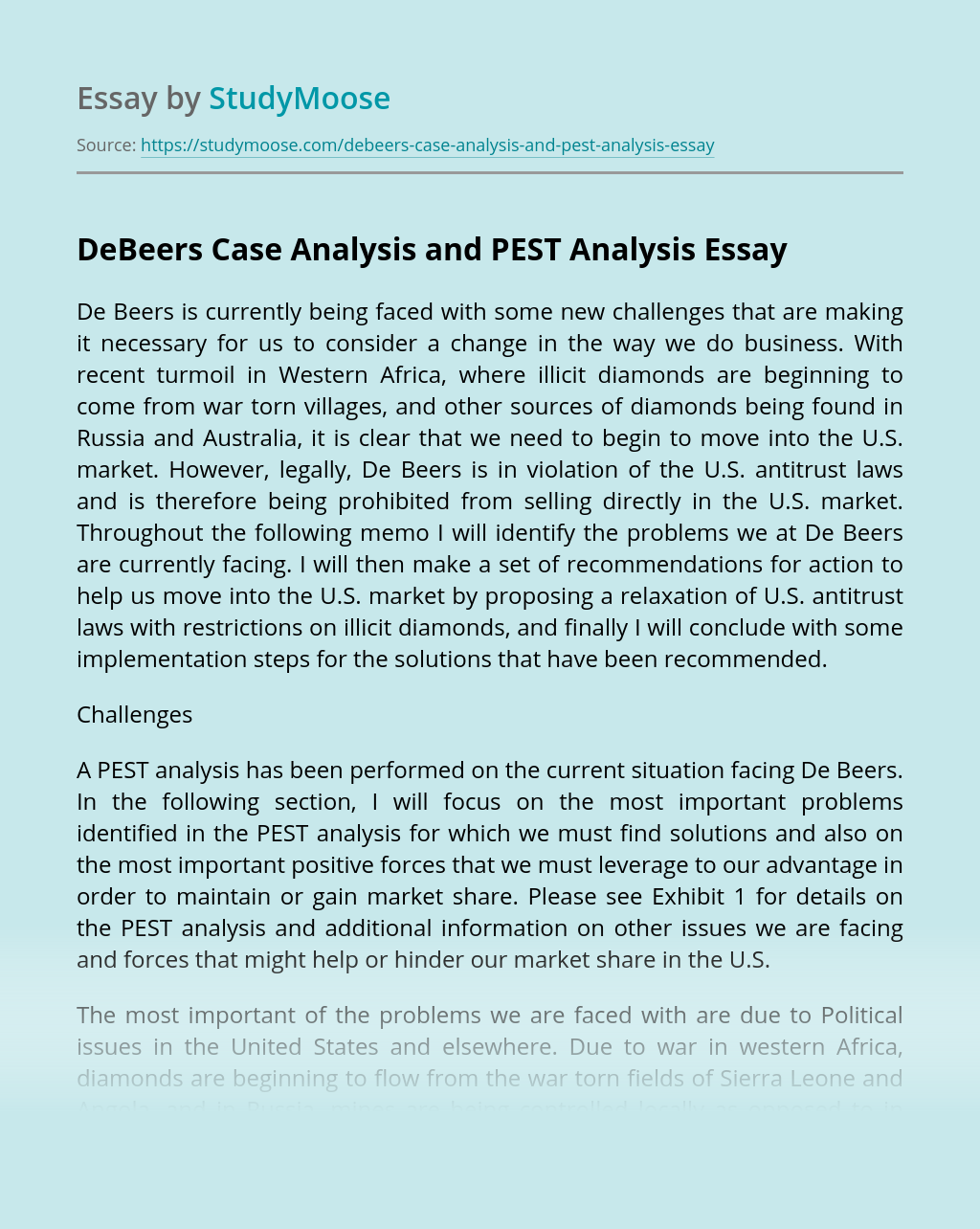 DeBeers Case Analysis and PEST Analysis