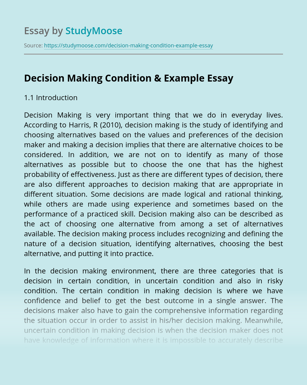 Decision Making Condition & Example