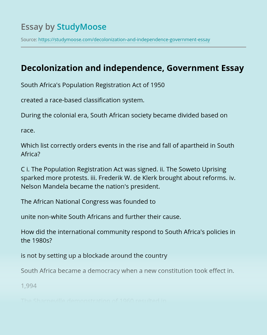 Decolonization and independence, Government