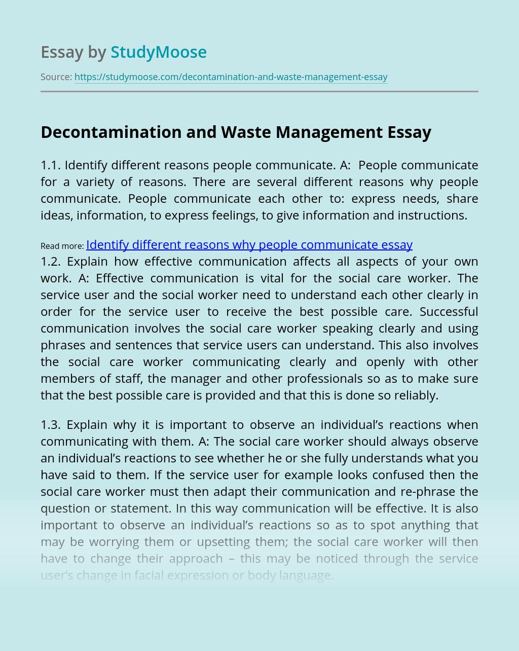 Decontamination and Waste Management