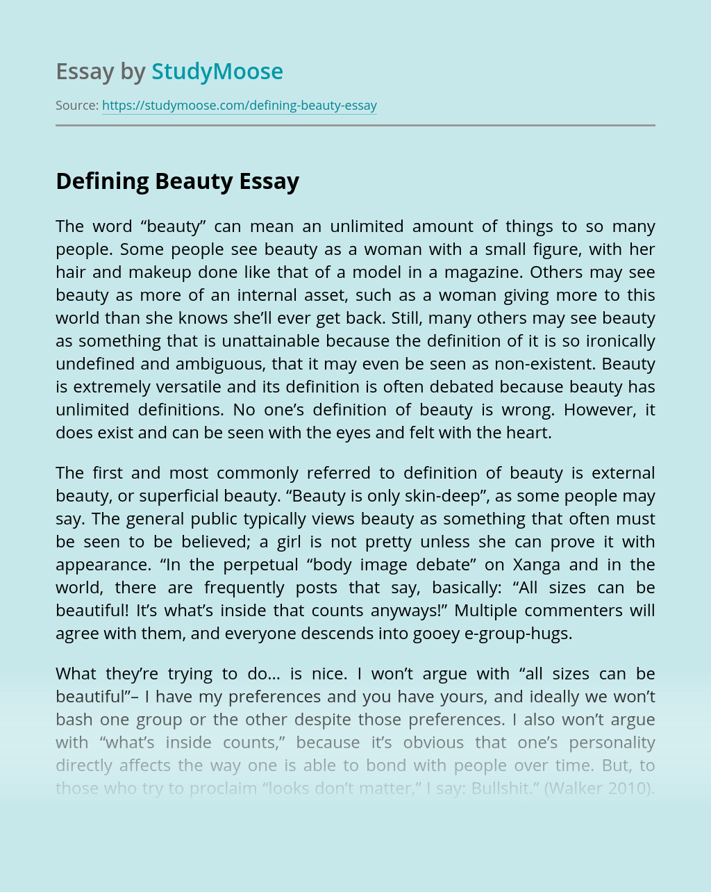 What is Beauty? Essay - Words | Bartleby