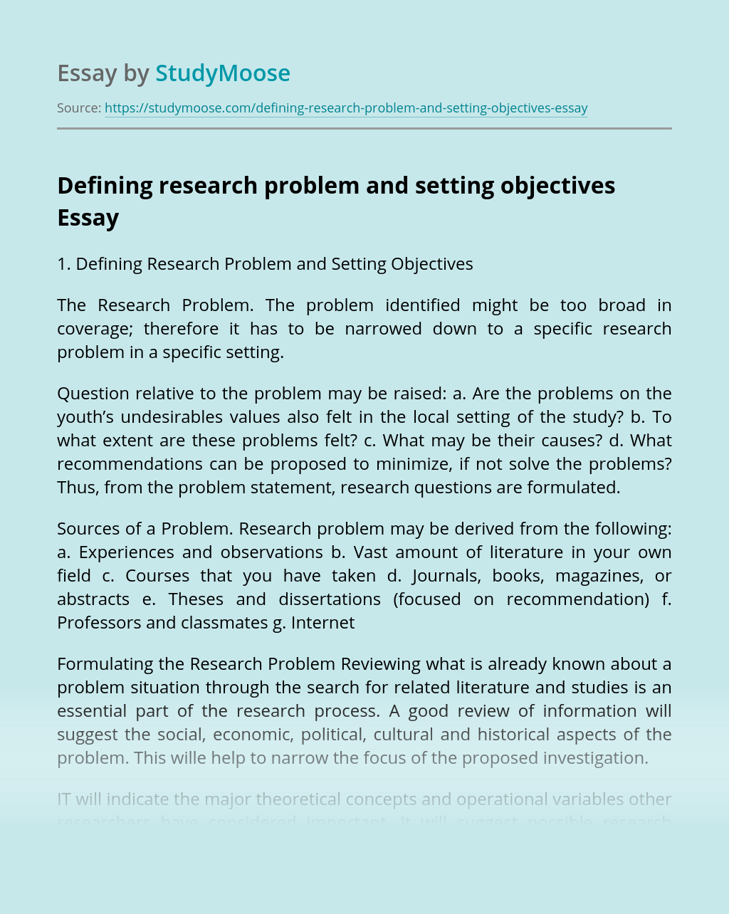Defining research problem and setting objectives