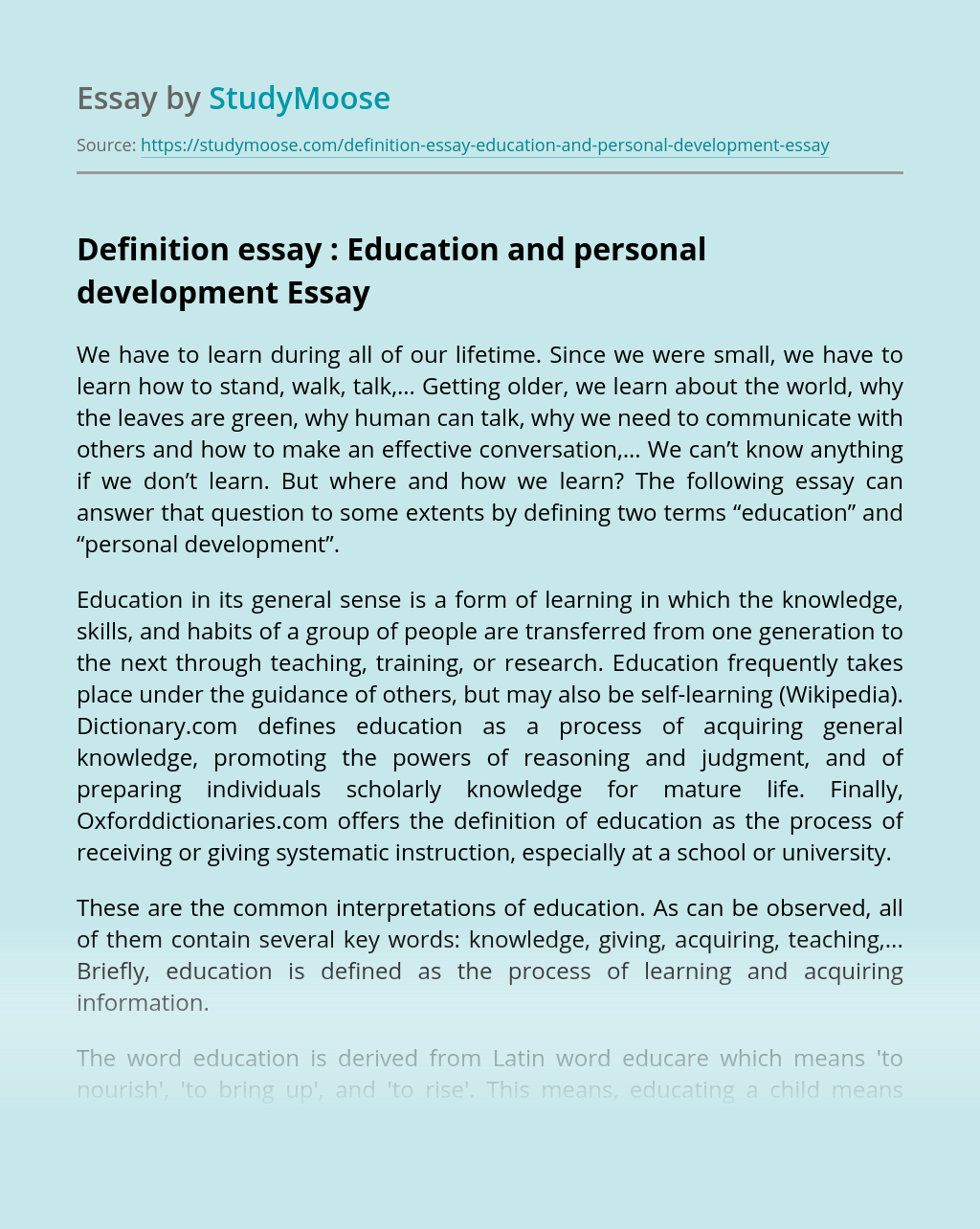 Definition essay : Education and personal development