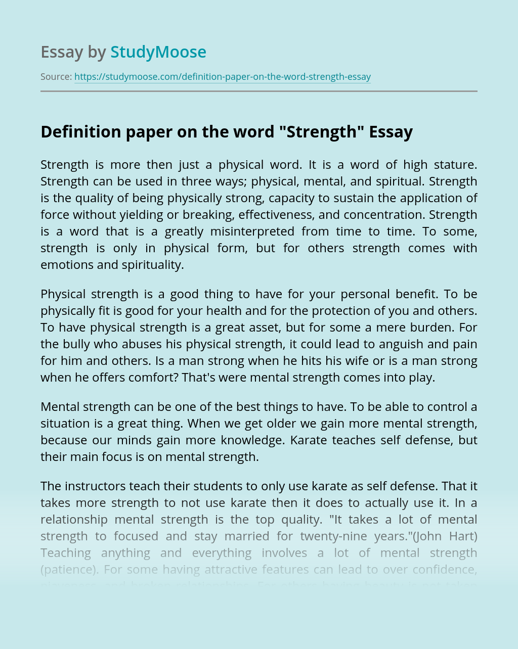 """Definition paper on the word """"Strength"""""""