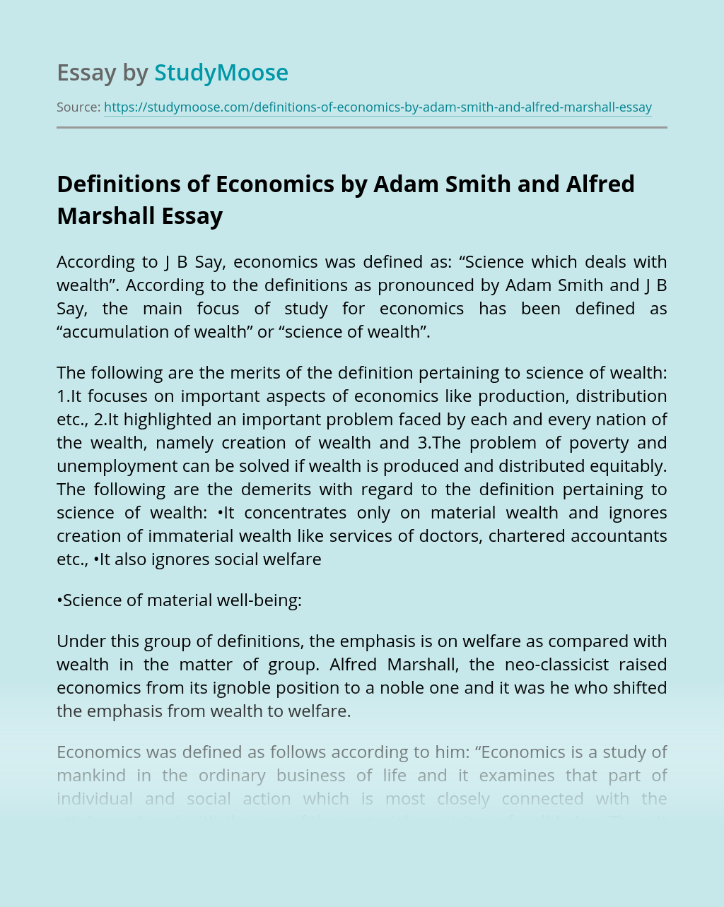Definitions of Economics by Adam Smith and Alfred Marshall